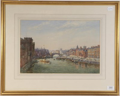 Lot 1091 - Thomas 'Tom' Dudley (British 1857-1935) View of York from the river, signed and dated 1891,...