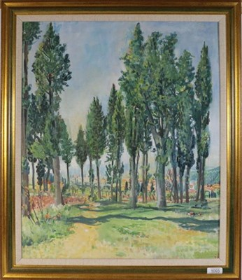 Lot 1093 - Piers Browne (Contemporary) Woodland scene, initialled, inscribed verso, oil on canvas, 59cm by...