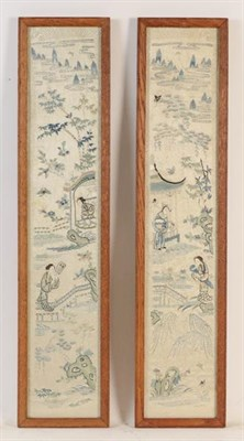 Lot 1095 - A pair of Chinese framed silk embroidered panels, and four framed maps Canada and British...