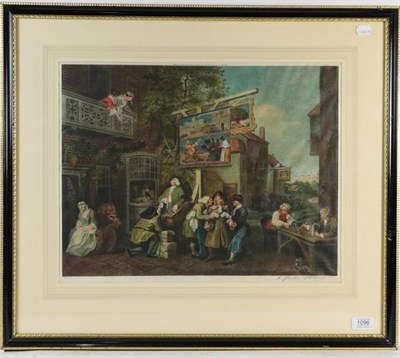 Lot 1096 - A pair of coloured stipple engravings after William Hogarth, and a pair of colour prints after...