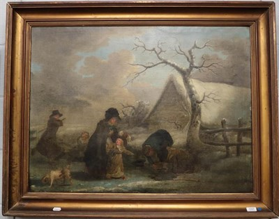 Lot 1097 - English school (19th century) Country landscape with figures learning to skate, oil on canvas
