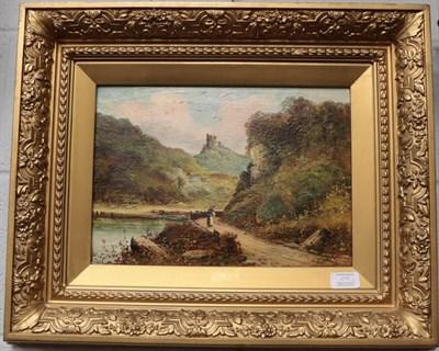 Lot 1098 - F. Stanley (19th century) Two castle landscapes, signed, oil on canvas, gilt framed (2)