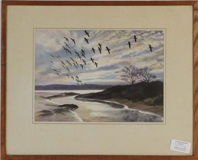Lot 1099 - Peter Scott (1909-1989) Swans flying over a landscape, signed print, 38.5cm by 55.5cm, together...