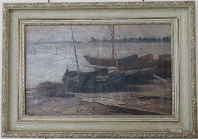 Lot 1019 - Maurice Hagemaus (Belgian 1852-1917) Boats on the beach, signed oil on canvas, 35.5cm by 57cm