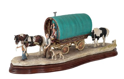 Lot 43 - Border Fine Arts 'Arriving at Appleby Fair' (Bow Top Wagon and Family), model No. B0402 by Ray...