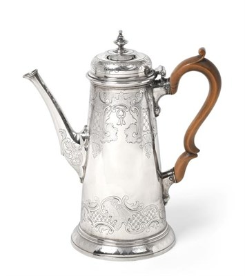 Lot 2002 - A George II Silver Coffee-Pot, by Richard Burcombe, London, 1734, tapering and on spreading...