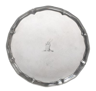 Lot 2004 - A George III Silver Salver, Probably by John Carter, London, 1774, shaped circular and on four cast
