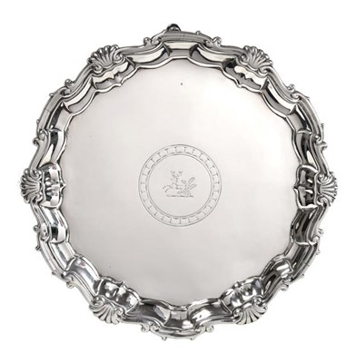 Lot 2006 - A George II Silver Salver, by Hugh Mills, London, 1747, shaped circular and on three pad feet, with