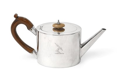 Lot 2014 - A George III Silver Teapot, by William Plummer, London, 1780, plain oval and with tapering...