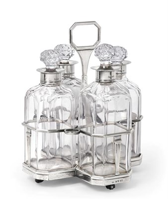 Lot 2015 - A George III Silver Four-Bottle Decanter-Stand, Probably by William Stroud, London, 1800,  the...