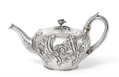 Lot 2023 - A William IV Silver Teapot, by Benjamin Smith, London, 1836, tapering cylindrical and chased...