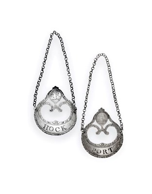 Lot 2030 - A Pair of George III Silver Decanter-Labels, by Hester Bateman, London, Circa 1770, each...