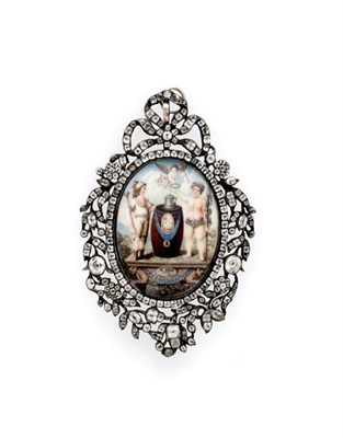 Lot 2031 - A George III Paste and Miniature-Set Jewel, The Miniature Signed 'W. Hay Pixit', Dated 1777,...