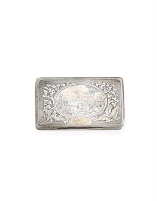 Lot 2044 - A European Silver Snuff-Box, Maker's Mark CM Incuse, Town Mark Indistinct, Possibly an Animal...