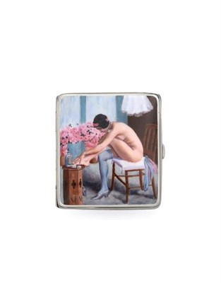 Lot 2045 - An Alpaca and Enamel Erotic Cigarette-Case, First Quarter 20th Century, oblong, the hinged...