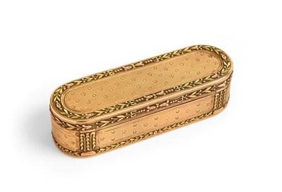 Lot 2051 - A Louis XVI Three-Colour Gold Snuff-Box, Maker's Mark JJ, A Bird (?) Between, Paris, Probably 1784