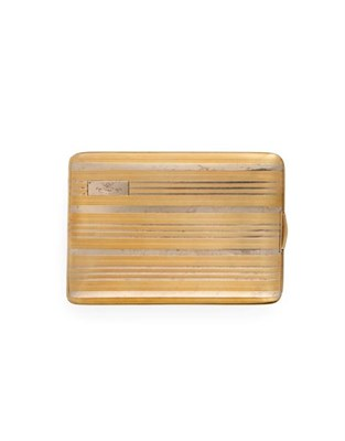 Lot 2058 - An American Two-Colour Gold Cigarette-Case, by Battin and Co., Newark, New Jersey, Circa 1920,...
