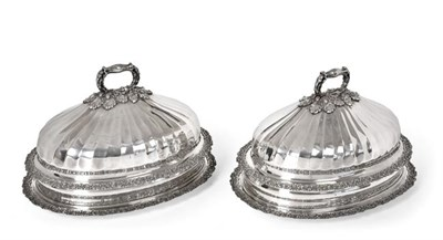 Lot 2061 - A Pair of Old Sheffield Plate Meat-Dish Covers and Meat-Dishes, Apparently Unmarked, Circa...