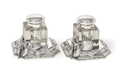 Lot 2062 - A Pair of Silver Plate Mounted Glass Ink-Bottles, Apparently Unmarked, Modern, each plain...