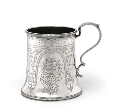 Lot 2068 - A Victorian Scottish Silver Christening-Mug, Edinburgh, 1869, tapering cylindrical and on spreading