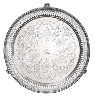 Lot 2071 - A Victorian Silver Salver, by Thomas Bradbury and Sons, Sheffield, 1887, Retailed by J. Mayer,...