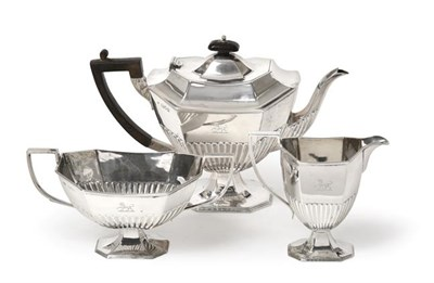 Lot 2072 - A Three-Piece Victorian Silver Tea-Service, by Hawksworth, Eyre and Co. Ltd., London, 1896,...