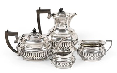 Lot 2084 - A Four-Piece Edward VII Silver Tea-Service, Probably by W. G. Keight and Co., Birmingham, 1904,...
