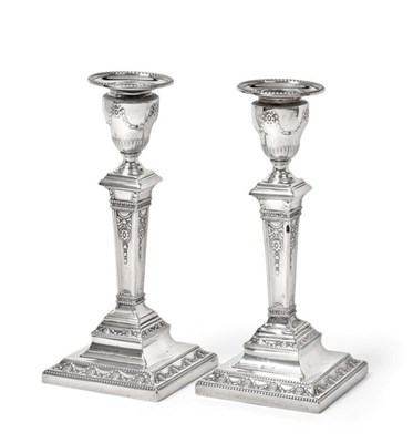 Lot 2085 - A Pair of Victorian Silver Candlesticks, by Hawkesworth Eyre and Co., Sheffield, 1892, each on...