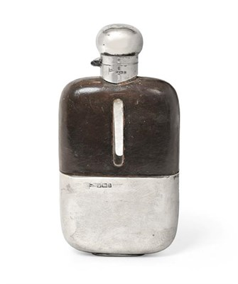 Lot 2088 - An Edward VII Silver and Leather-Mounted Glass Spirit-Flask, by Walker and Hall, Sheffield,...