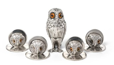 Lot 2095 - A Set of Four George V Silver Place-Card Holders, by John Collard Vickery, London, 1922, each...