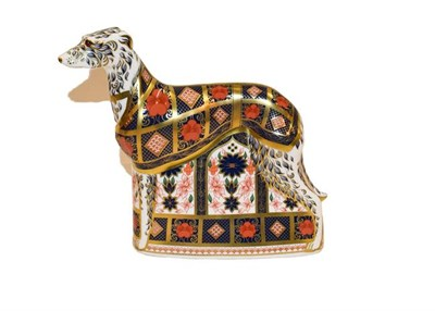 Lot 2 - Royal Crown Derby: Old Imari Solid Gold Band Lurcher, with gold stopper, 17cm high