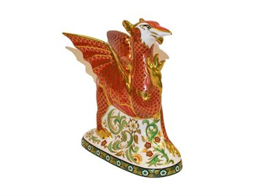 Lot 5 - Royal Crown Derby: Welsh Dragon paperweight, No. 22/950, with gold stopper and certificate,...