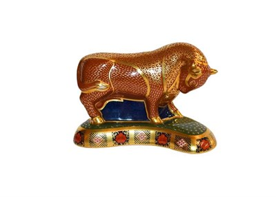 Lot 10 - Royal Crown Derby Imari: Harrods Bull, limited edition 103/400, with gold stopper, certificate...