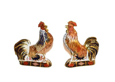 Lot 11 - Royal Crown Derby: Imari Cockerel and Imari Rooster paperweights, both with gold stoppers,...