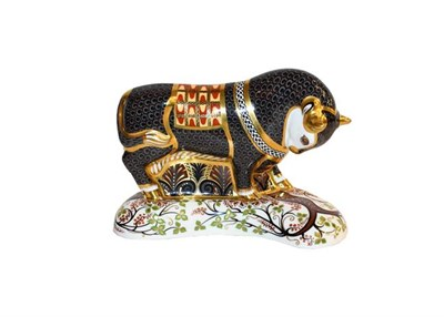 Lot 14 - Royal Crown Derby Imari: Grecian Bull, limited edition 7/750, with gold stopper, certificate...