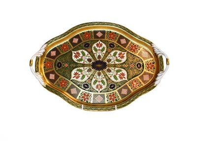 Lot 15 - Royal Crown Derby Imari: A twin-handled Old Imari Holiday pattern tray, 41cm wide, together...