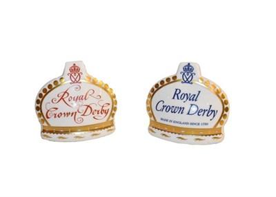 Lot 16 - Royal Crown Derby Paperweights: Golden Jubilee Heraldic Crown, No. 781/950, Coronation Orb, No....