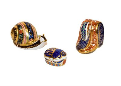 Lot 18 - Royal Crown Derby Imari: Six paperweights, comprising: Garden Snail, No. 4057/4500, with...