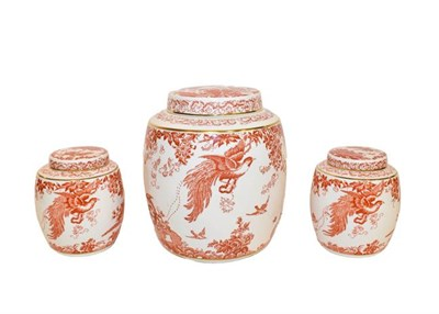 Lot 24 - Royal Crown Derby porcelain: Red Aves pattern wares comprising a large ginger jar and cover...