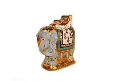 Lot 27 - Royal Crown Derby Paperweights: Indian Elephant with howdah, No. 3/500 exclusive to Mulberry...