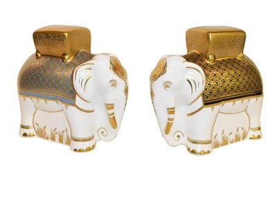 Lot 28 - Royal Crown Derby Paperweights: Two elephants both ''Aura'', each with gold stoppers and 16cm high