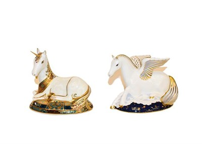 Lot 30 - Royal Crown Derby: Unicorn and Pegasus paperweights, numbers 1751/2000 and 170/1750...