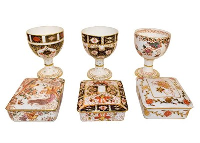 Lot 32 - Royal Crown Derby Imari: Two goblets pattern numbers 1128 and 2451, an Olde Avesbury goblet, a pair