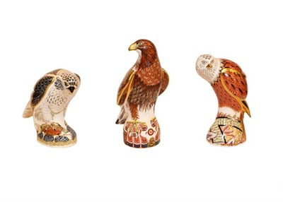 Lot 33 - Royal Crown Derby: Birds of Prey collection, a group of seven paperweights comprising: Buzzard, No.