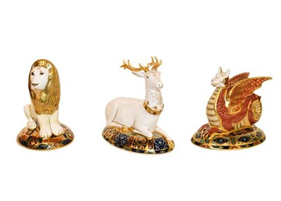 Lot 35 - Royal Crown Derby: Heraldic Lion paperweight, No. 163/2000, by Louise Adams, The White Hart...