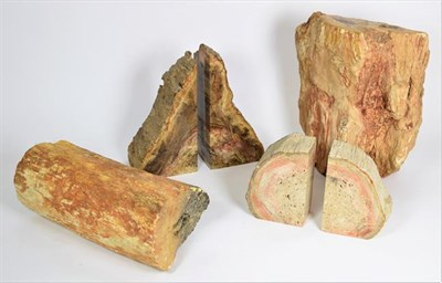 Lot 87 - Fossils: Petrified Wood Specimens, Brazil, a pair of petrified wood bookends, 9.5cm by 7cm by...