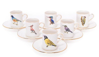 Lot 88 - Collectibles: Rowland Ward China Coffee Cans and Saucers, six Coffee Cans and saucers, painted with