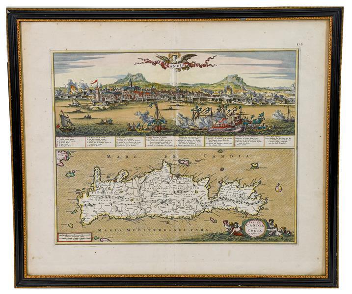 Lot 3 - Crete. Insula Candia olim Creta. N Visscher exc[udebat], Amsterdam, c.1680, engraving with...