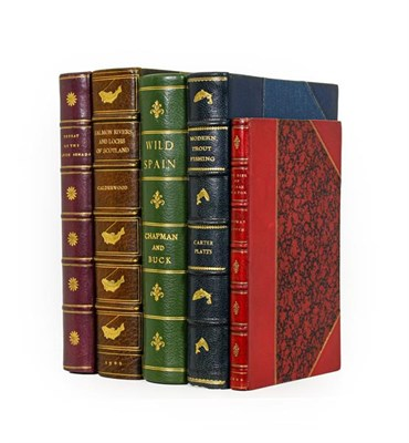 Lot 45 - Bindings. 1) The Salmon Rivers and Lochs of Scotland. By W. L. Calderwood, 1st edition, London:...