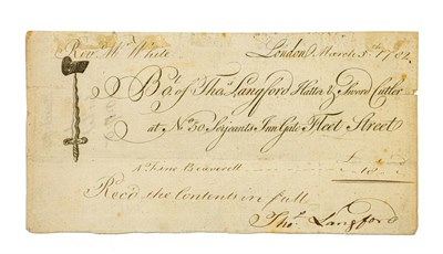 Lot 87 - White (Gilbert, 1720-1793). Milliner's receipt with Gilbert White's autograph docket, 5 March 1782.